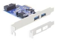 Delock 2x USB3.0 extern + 1x USB3.0 intern, Steckkarte, PCIe