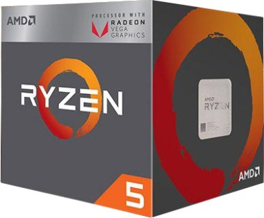 AMD Ryzen 5 2400G, 4x 3.6 GHz (Vega 11 Grafik)